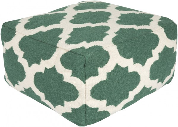 Surya Contemporary Green Ivory Fabric Trellis Poufs 13995-VAR2
