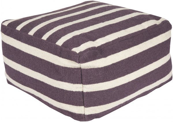 Surya Contemporary Eggplant Ivory Fabric Striped Poufs 13996-VAR2