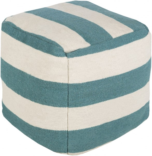 Surya Contemporary Teal Ivory Fabric Poufs 13997-VAR1