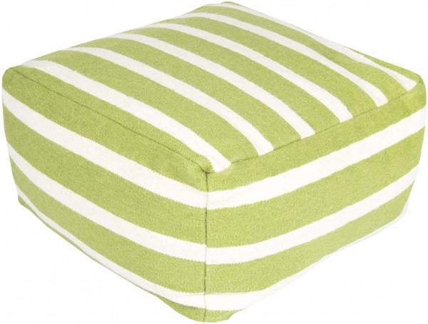 Surya Contemporary Lime Ivory Fabric Square Pouf (L 24 X W 24 X H 13) POUF163-242413