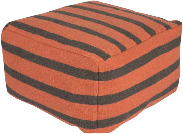 Surya Poufs Burnt Orange Light Gray Wool Pouf - 24x24x13 POUF164-242413