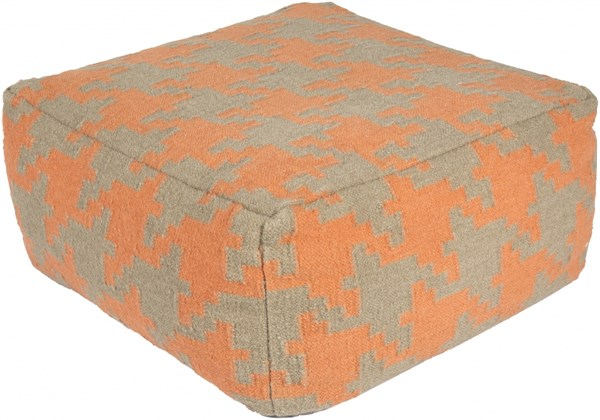 Surya Contemporary Coral Ivory Fabric Handstooth Poufs 13999-VAR2