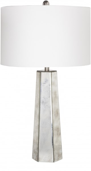 Perry Antiqued Mirror Glass Linen Table Lamp - 16x28.5 PRLP-001