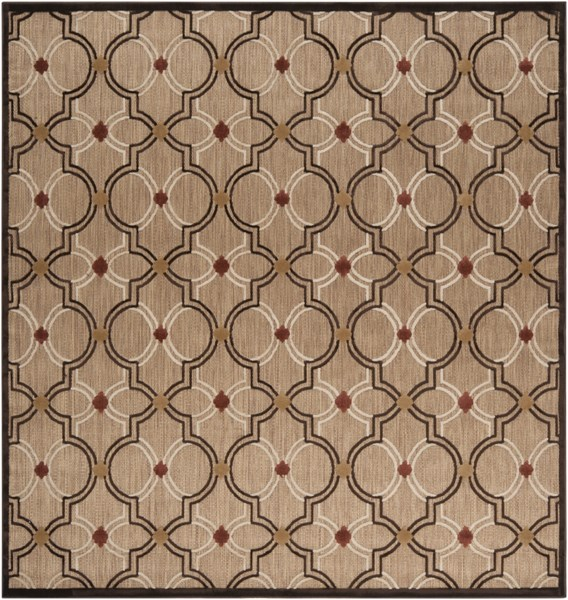 Surya Portera Khaki Dark Brown Wheat Polyolefin Square Area Rug - 90x90 PRT1049-76SQ