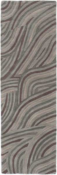 Perspective Contemporary Gray Taupe Magenta Wool Rugs 1525-VAR2
