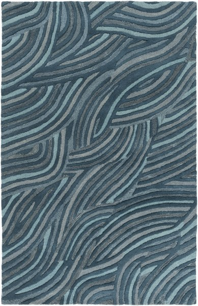 Perspective Contemporary Teal Moss Wool Area Rug (l 96 X W 60) PSV39-58