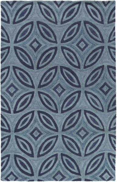 Perspective Teal Moss Wool Geomatric Area Rug (L 96 X W 60) PSV40-58
