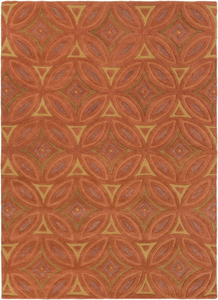 Perspective Rust Gold Wool Area Rug - 96 x 132 PSV44-811