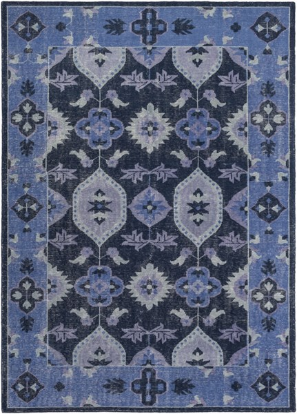Pazar Navy Teal Cobalt Wool Area Rug - 96 x 132 PZR6000-811