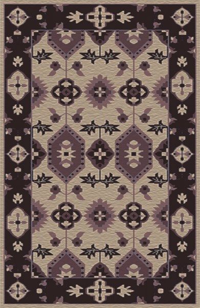 Pazar Light Gray Eggplant Mauve Wool Area Rug - 66 x 102 PZR6009-5686