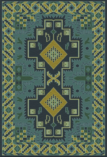 Pazar Teal Navy Moss Green Wool Area Rug - 66 x 102 PZR6010-5686