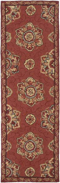 Rain Contemporary Burgundy Beige Gold Polypropylene Rugs 289-VAR1