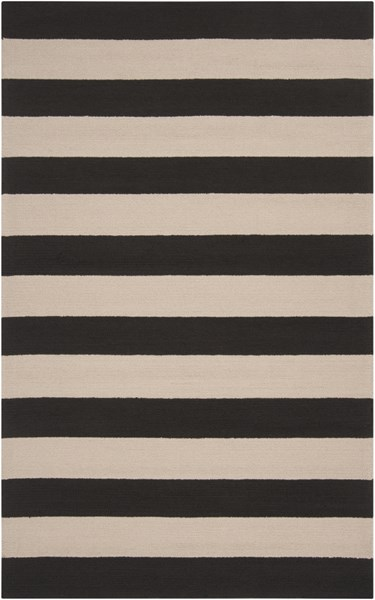 Rain Black Beige Polypropylene Striped Area Rug (L 96 X W 60) RAI1079-58