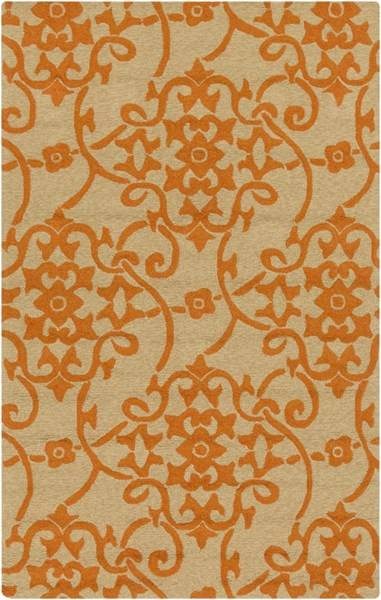 Rain Burnt Orange Beige Polypropylene Area Rug (L 96 X W 60) RAI1195-58