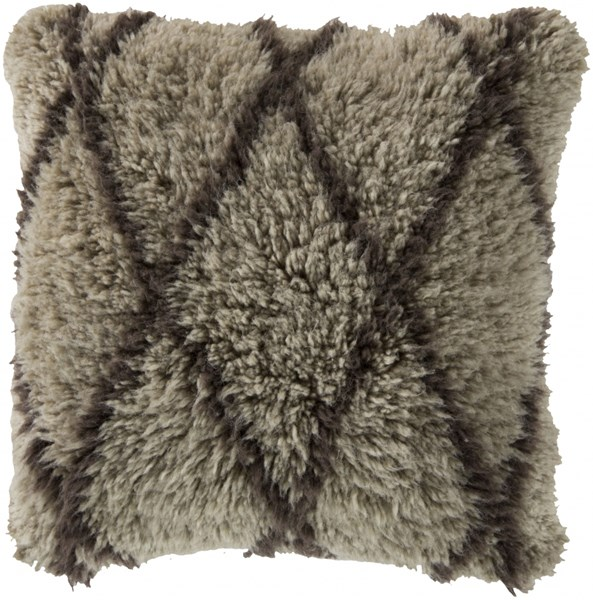 Mammoth Taupe Charcoal Wool Throw Pillows 13310-VAR1