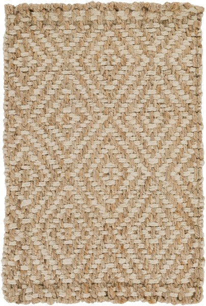 Reeds Contemporary Ivory Beige Fabric Rectangle Area Rug REED807-23