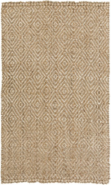 Reeds Contemporary Ivory Beige Fabric Rectangle Hand Woven Area Rug REED807-58