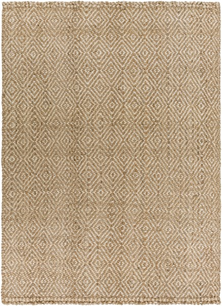 Reeds Ivory Beige Jute Hand Woven Area Rug (L 132 X W 96) REED807-811