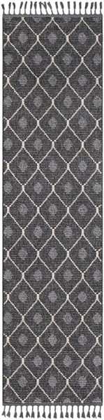 Surya Restoration Charcoal Black Light Gray Polypropylene Runner - 87x31 REO2304-2773