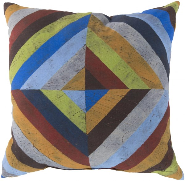 Rain Orange Burgundy Blue Polyester Throw Pillow (L 18 X W 18 X H 4) RG005-1818
