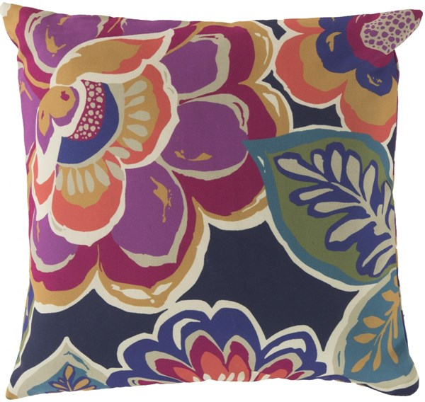 Rain Magenta Iris Moss Polyester Throw Pillow - 20x20x5 RG006-2020