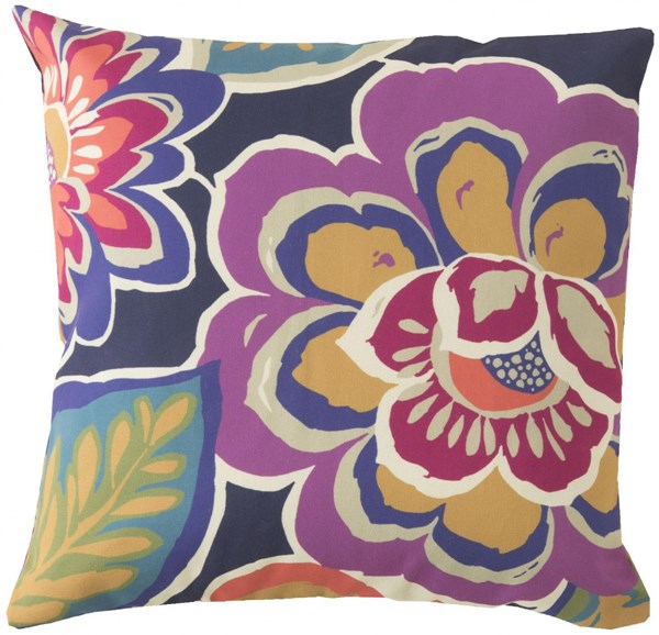 Rain Magenta Iris Gold Polyester Throw Pillow - 18x18x4 RG007-1818