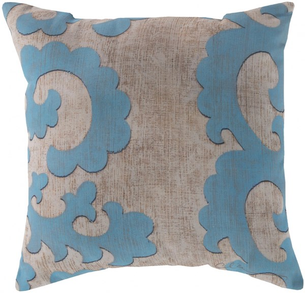Rain Teal Beige Square Throw Pillow (L 20 X W 20 X H 5) RG017-2020