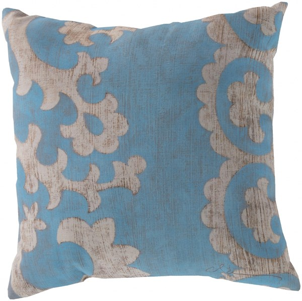 Rain Contemporary Teal Beige Polyester Throw Pillows 13321-VAR1