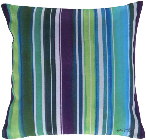 Rain Teal Lime Ivory Polyester Throw Pillow (L 18 X W 18 X H 4) RG033-1818