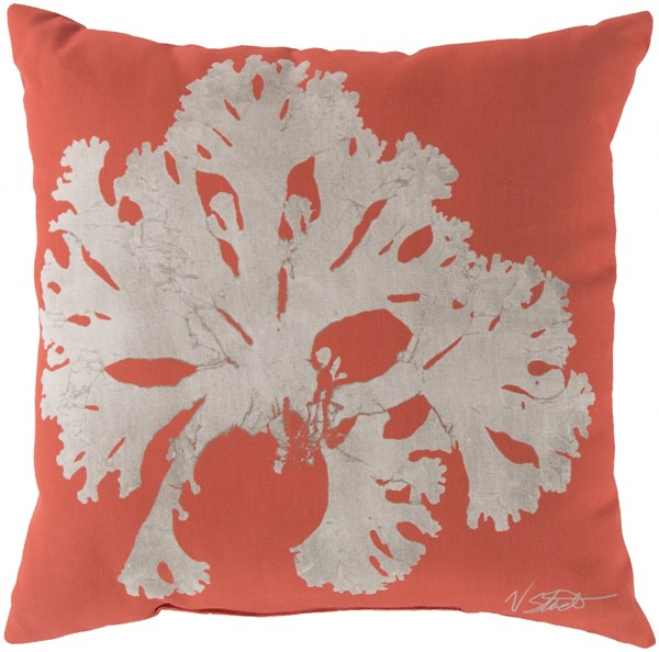 Rain Coral Beige Polyester Coastal Throw Pillow (L 18 X W 18 X H 4) RG052-1818