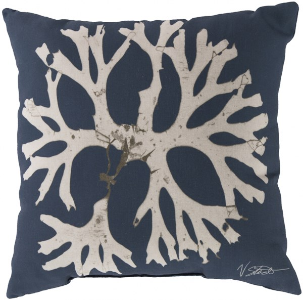 Rain Navy Beige Polyester Poly Feel Throw Pillow (L 20 X W 20 X H 5) RG053-2020