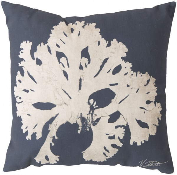 Rain Navy Beige Coastal Square Throw Pillow (L 20 X W 20 X H 5) RG054-2020