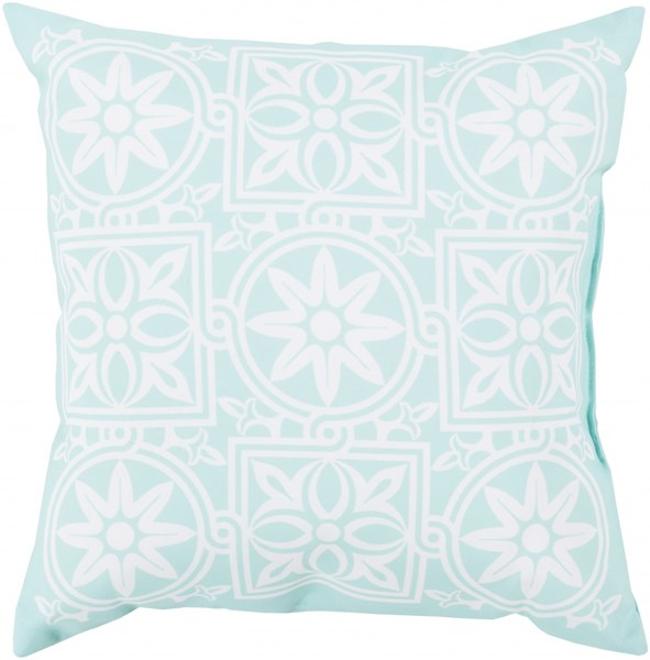 Rain Contemporary Mint Ivory Cobalt Polyester Throw Pillows 13335-VAR2