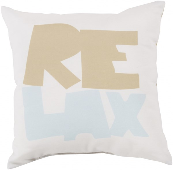 Rain Coastal Sky Blue Ivory Polyester Throw Pillow (L 18 X W 18 X H 4) RG092-1818