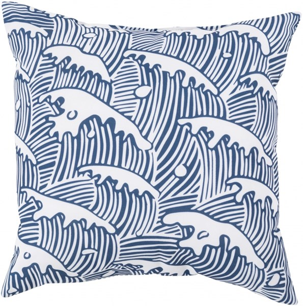 Rain Cobalt Ivory Polyester Square Throw Pillow (L 18 X W 18 X H 4) RG096-1818