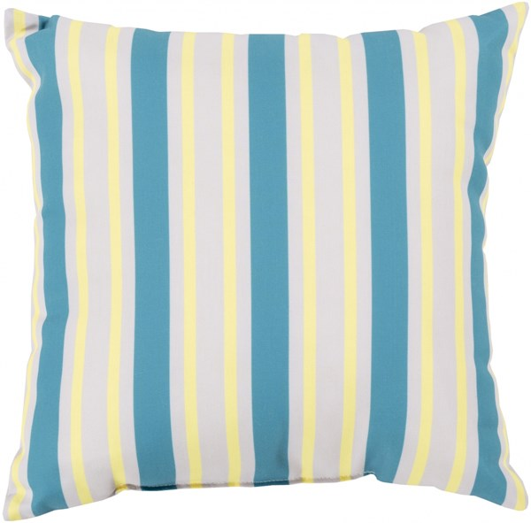 Rain Aqua Light Gray Peach Polyester Throw Pillow (L 26 X W 26 X H 5) RG108-2626