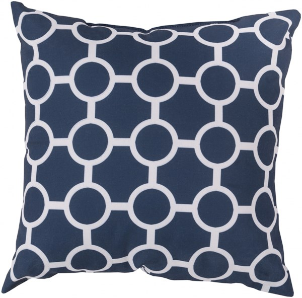 Rain Cobalt Light Gray Polyester Throw Pillow - 18x18x4 RG119-1818