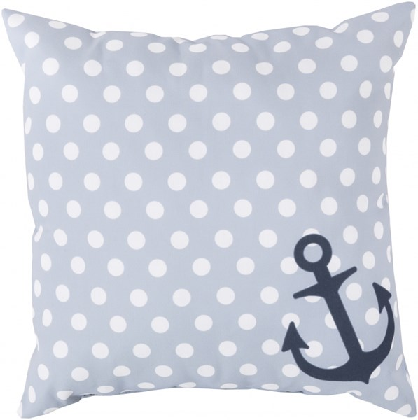 Rain Light Gray Ivory Navy Polyester Throw Pillow - 26x26x5 RG127-2626