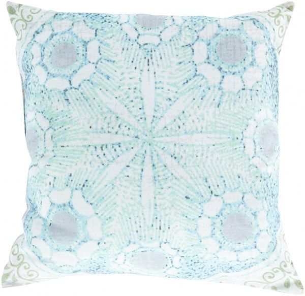 Rain Mint Sky Blue Gray Polyester Throw Pillow (L 18 X W 18 H 4) RG133-1818