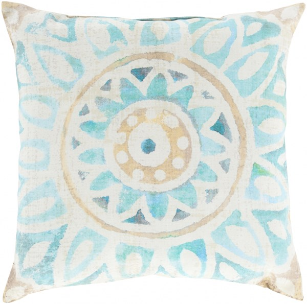 Rain Aqua Orange Ivory Polyester Throw Pillow - 20x20x5 RG134-2020