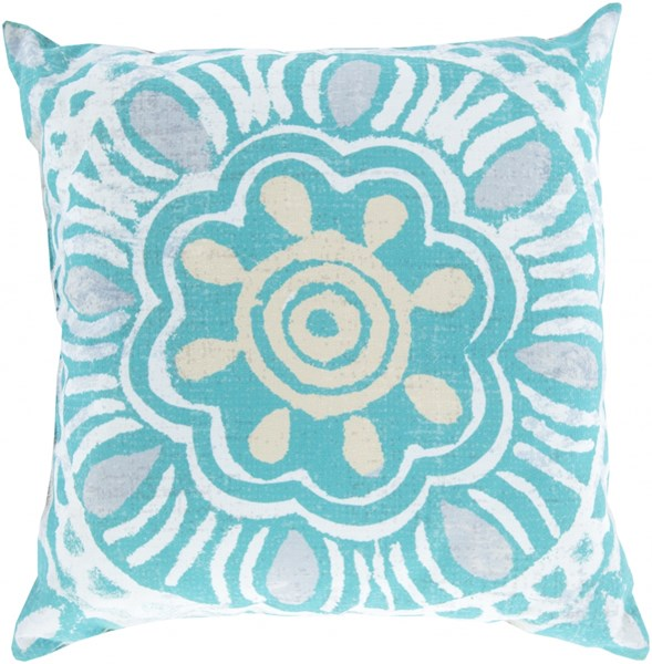 Rain Contemporary Aqua Ivory Beige Polyester Throw Pillows 13362-VAR1