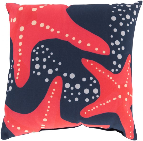 Rain Cobalt Coral Light Gray Polyester Throw Pillow - 18x18x4 RG142-1818