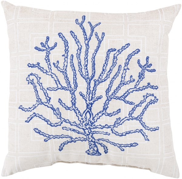 Rain Cobalt Ivory Polyester Square Throw Pillow (L 20 X W 20 X H 5) RG150-2020