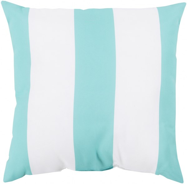 Rain Sky Blue Ivory Polyester Striped Throw Pillow (L 26 X W 26 X H 5) RG158-2626