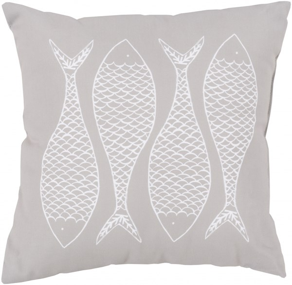 Rain Light Gray Ivory Polyester Throw Pillow (L 26 X W 26 X H 5) RG170-2626