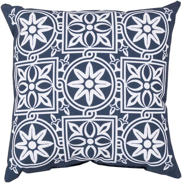 Rain Cobalt Ivory Polyester Global Throw Pillow (L 18 X W 18 X H 4) RG175-1818