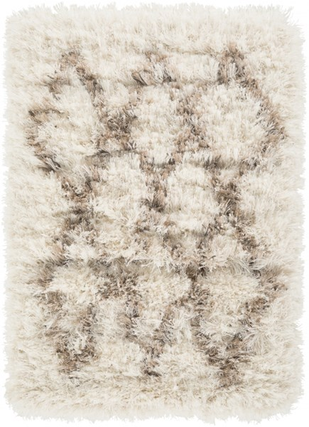Rhapsody Contemporary Ivory Taupe Polyester Fabric Area Rugs 818-VAR1