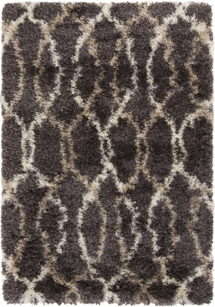Rhapsody Contemporary Gray Beige Polyester Fabric Area Rugs 1002-VAR1
