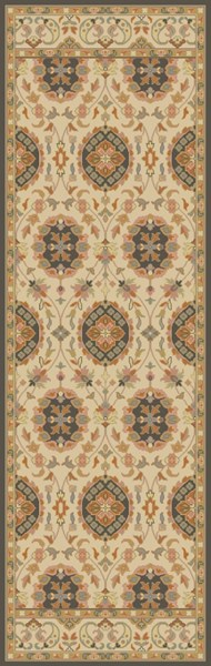 Relic Vintage Beige Gold Charcoal Fabric Runner (L 96 X W 30) RLC3004-268
