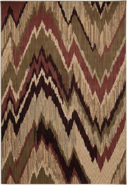 Riley Lime Mocha Olive Power Loomed Area Rug (L 90 X W 63) RLY5001-5376